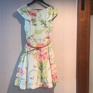 Summer Garden Party Dress with Red Patent Belt